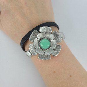 Lia Sophia Silver Flower Wrap Bracelet